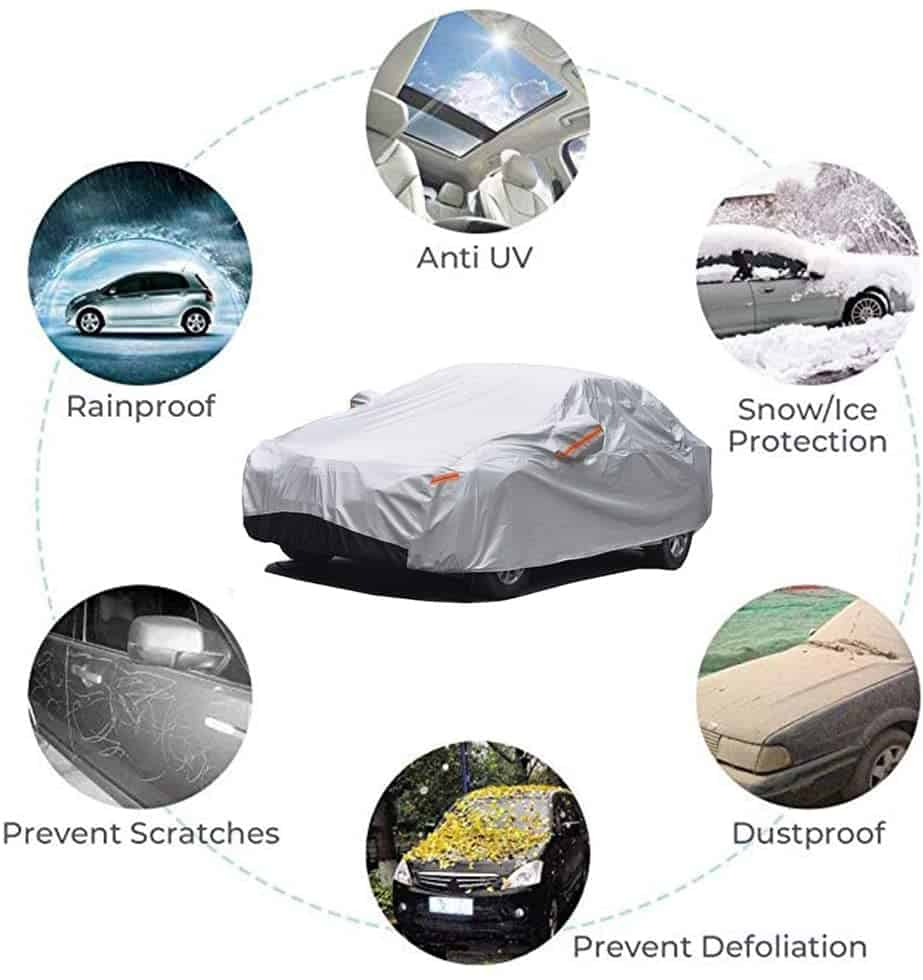 GUNHYI Outdoor Car Covers for Automobiles Waterproof All Weather, 6 Layer Heavy Duty Cover Sun Uv Protection, Universal Fit Sedan (Length 192-208 inch) GUNHYI Outdoor Car Covers for Automobiles Waterproof All Weather, 6 Layer Heavy Duty Cover Sun Uv Protection, Universal Fit Sedan (Length 192-208 inch)