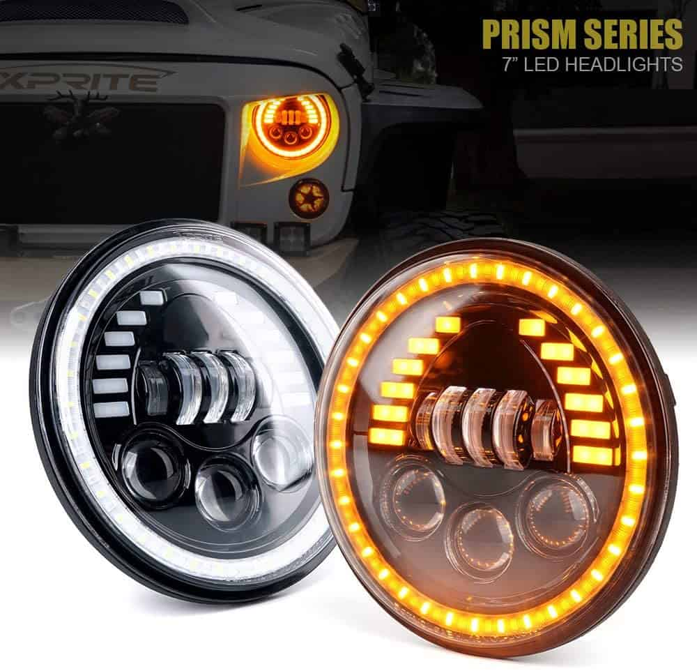 "Xprite 7"" Round LED Headlights with Amber Turn Signal Halo Lights"