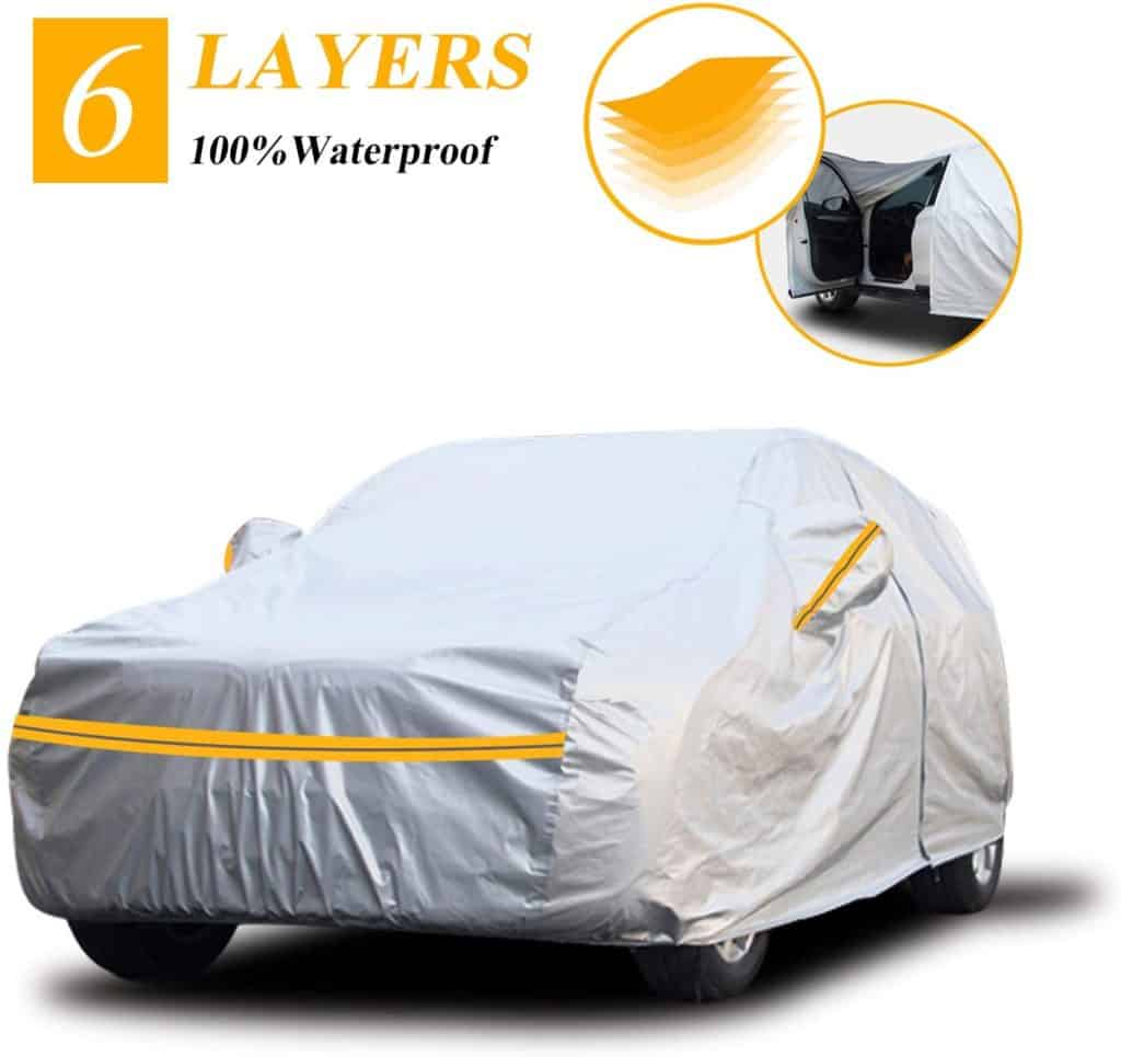 "Autsop Car Cover Waterproof All Weather,6 Layers Car Cover for Automobiles Outdoor Full Cover Sun Hail UV Dust Protection with Zipper, Universal A6-YXL(Fits SUV 188"" to 200"")"