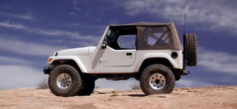 Jeep Wrangler on desert and blue sky