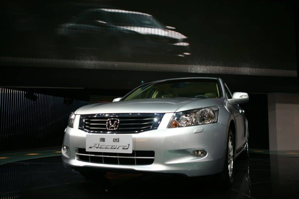 View of a Honda Accord car on display during Auto Guangzhou 2007 in Guangzhou, November 20, 2007. Auto Guangzhou 2007 is held in Guangzhou from November 20 to November 26, 2007.