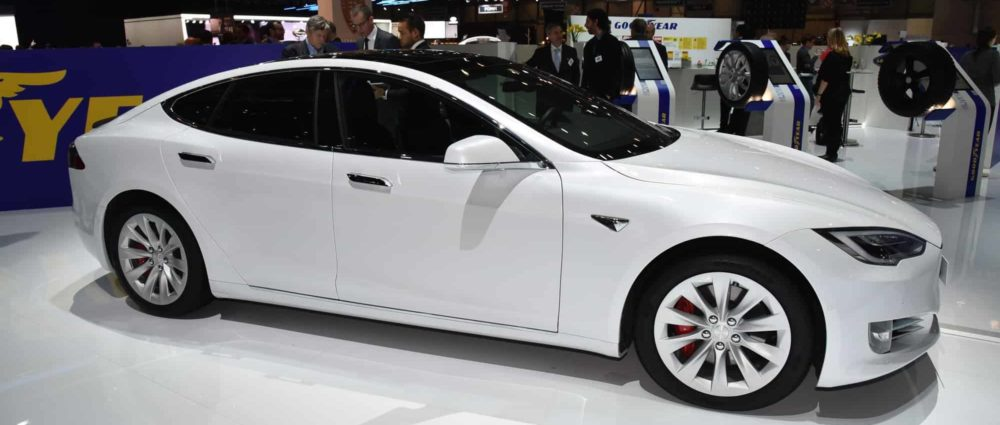 Geneva, Switzerland, March 06-2018: Tesla Model S P100D presented at GIMS