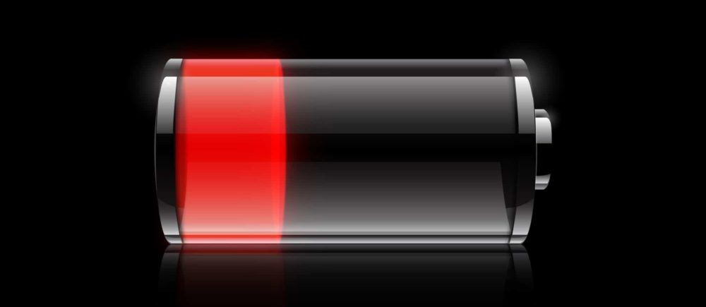 Battery low in red sign.