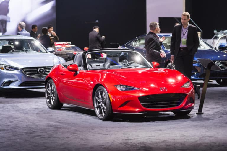 Mazda Miata MX5 on display during the Detroit International Auto Show at the COBO Center in downtown Detroit.
