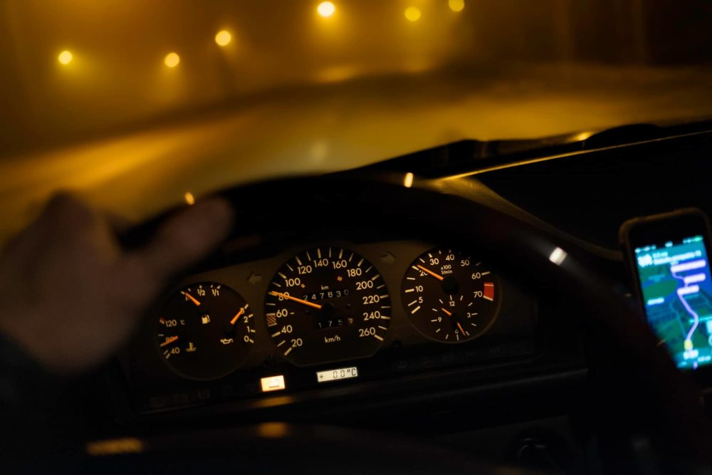 Driving car during low visibility at night