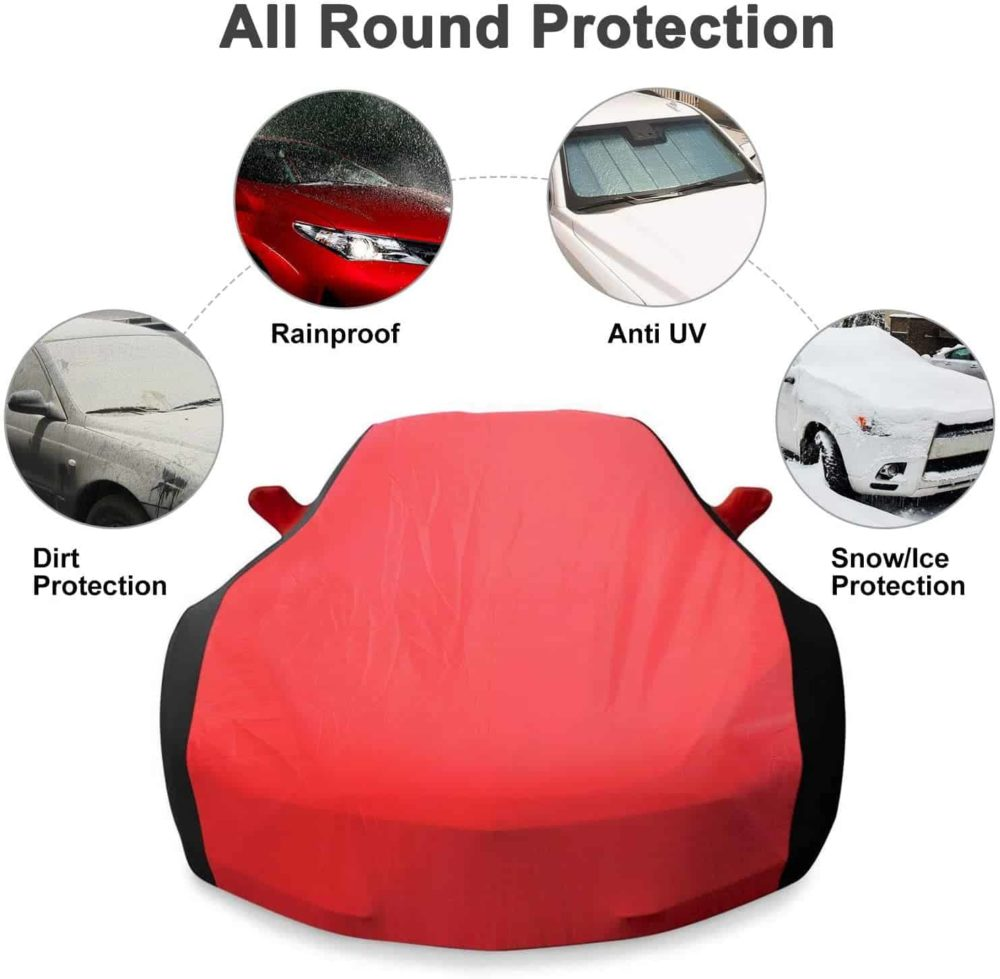 KAKIT Waterproof Car Cover for 2014-2019 C7 Stingray, Custom Fit C7 Cover No Faded UV Resistant for Chevy Corvette Stingray Z51 Z06 Outdoor/Indoor (Red & Black Combo)