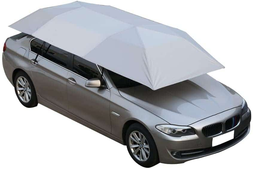 NINTE Car Tent Automatic Folded Remote Control Portable Auto Protection Umbrella Shelter Car Hood 82x157 inches (Silver)